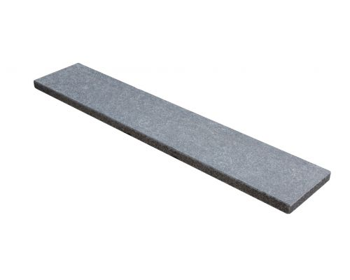 Basalt vijverrand gezoet / facet 100x25x3cm.